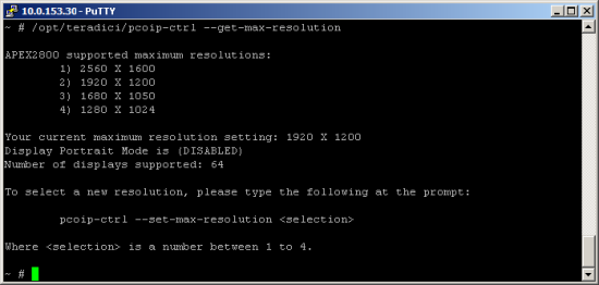 Example: Viewing and Setting the Maximum Display Resolution.