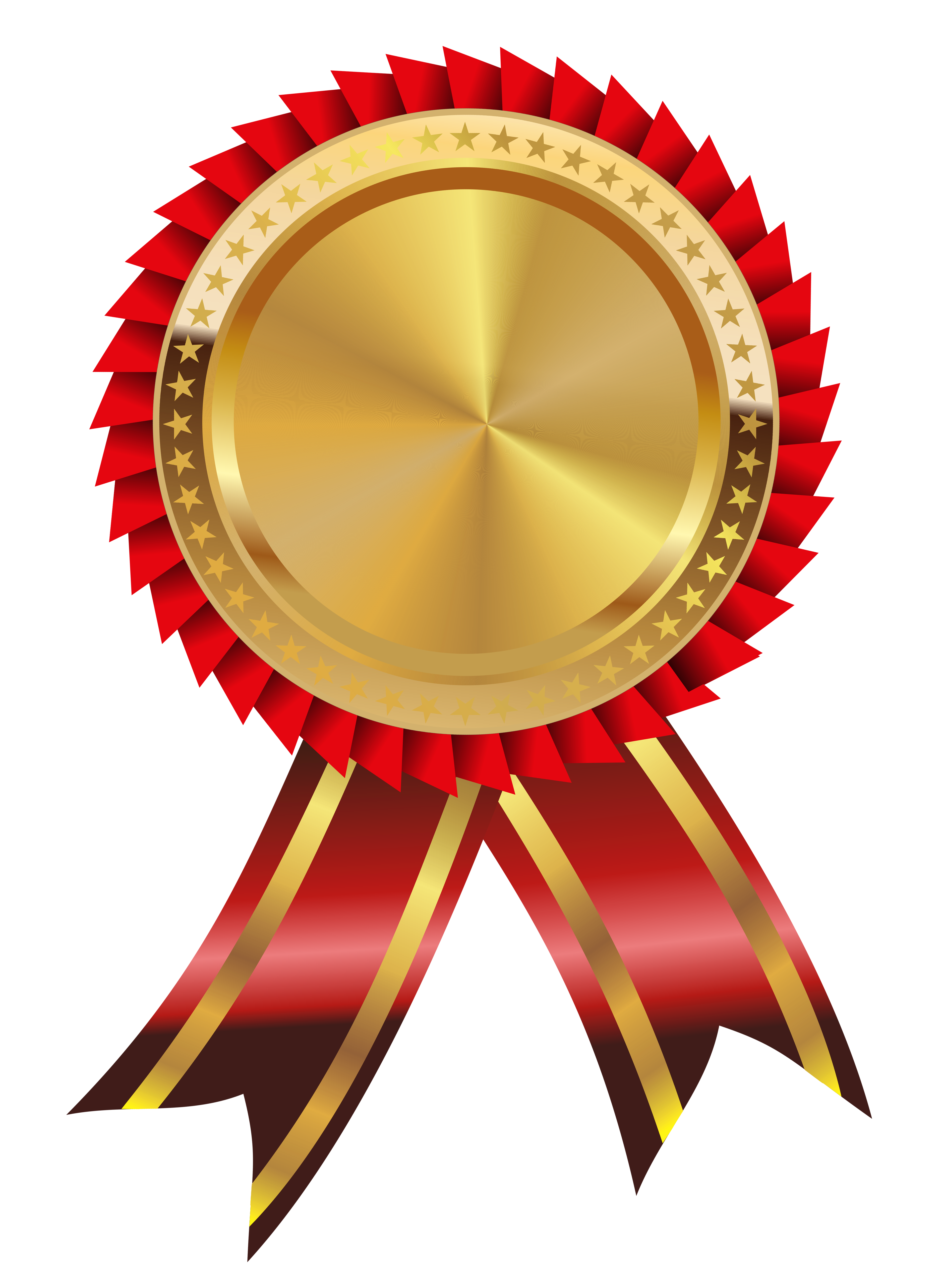 Gold and Red Medal PNG Clipart Image.