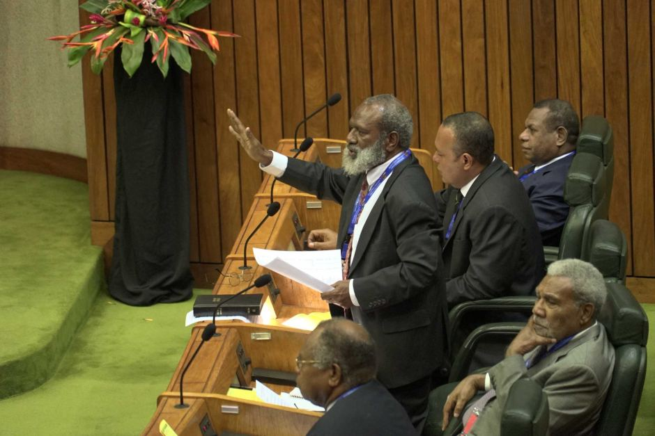 Opposition MP Kerenga Kua in PNG\'s Parliament.