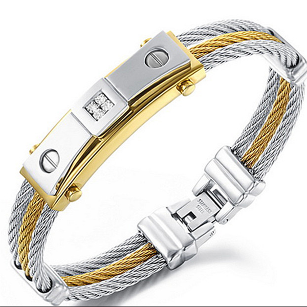 Yiwu Aceon Stainless Steel Dubai Gold Jewelry Fashion Men\'s 3 Layers Mens  Wire Bangle Bracelet.