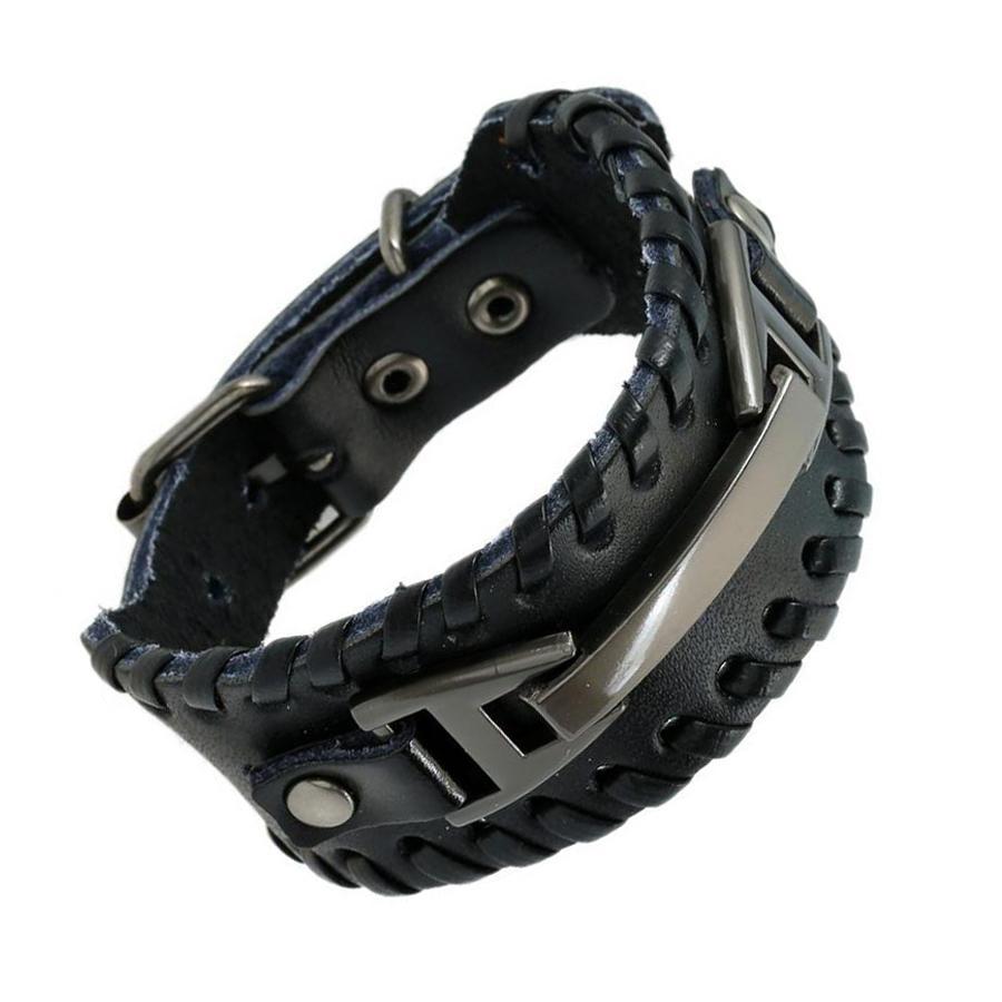 Punk Male Bracelet Wide Genuine Cowhide Leather Cuff Bracelet Wristband  Wrap Titanium Plated Mens Bangles Belt Buckle Jewelry.