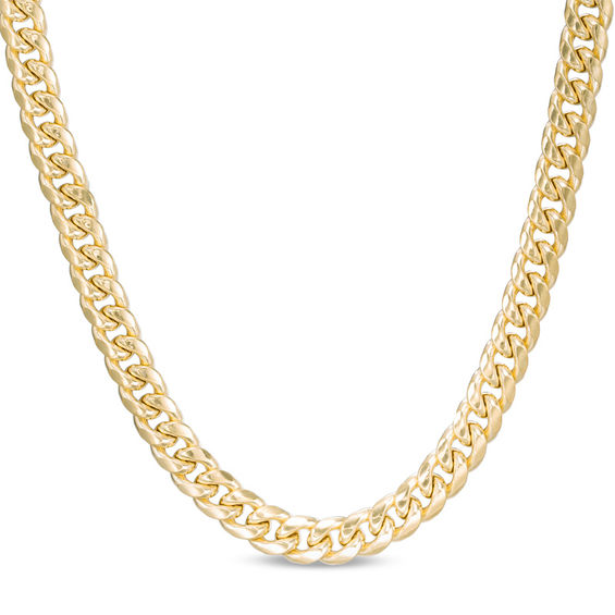 Men\'s 7.5mm Cuban Link Chain Necklace in 10K Gold.