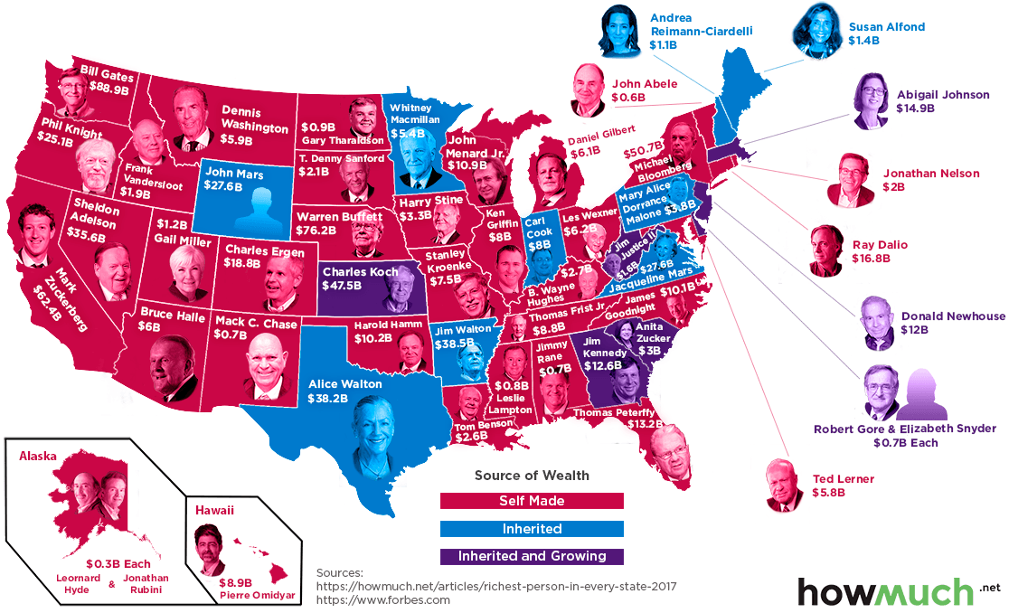 Infographic: The Richest Person in Every U.S. State in 2017.