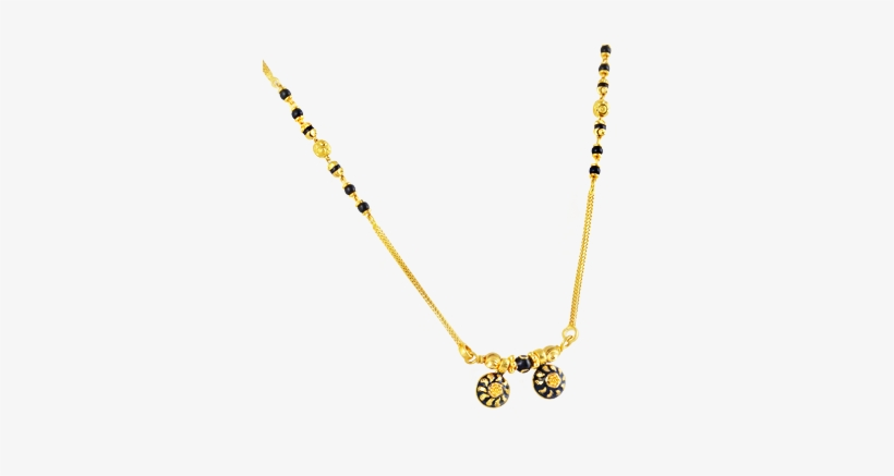 Traditional Mangalsutra With Black Beads In 22kt Yellow.