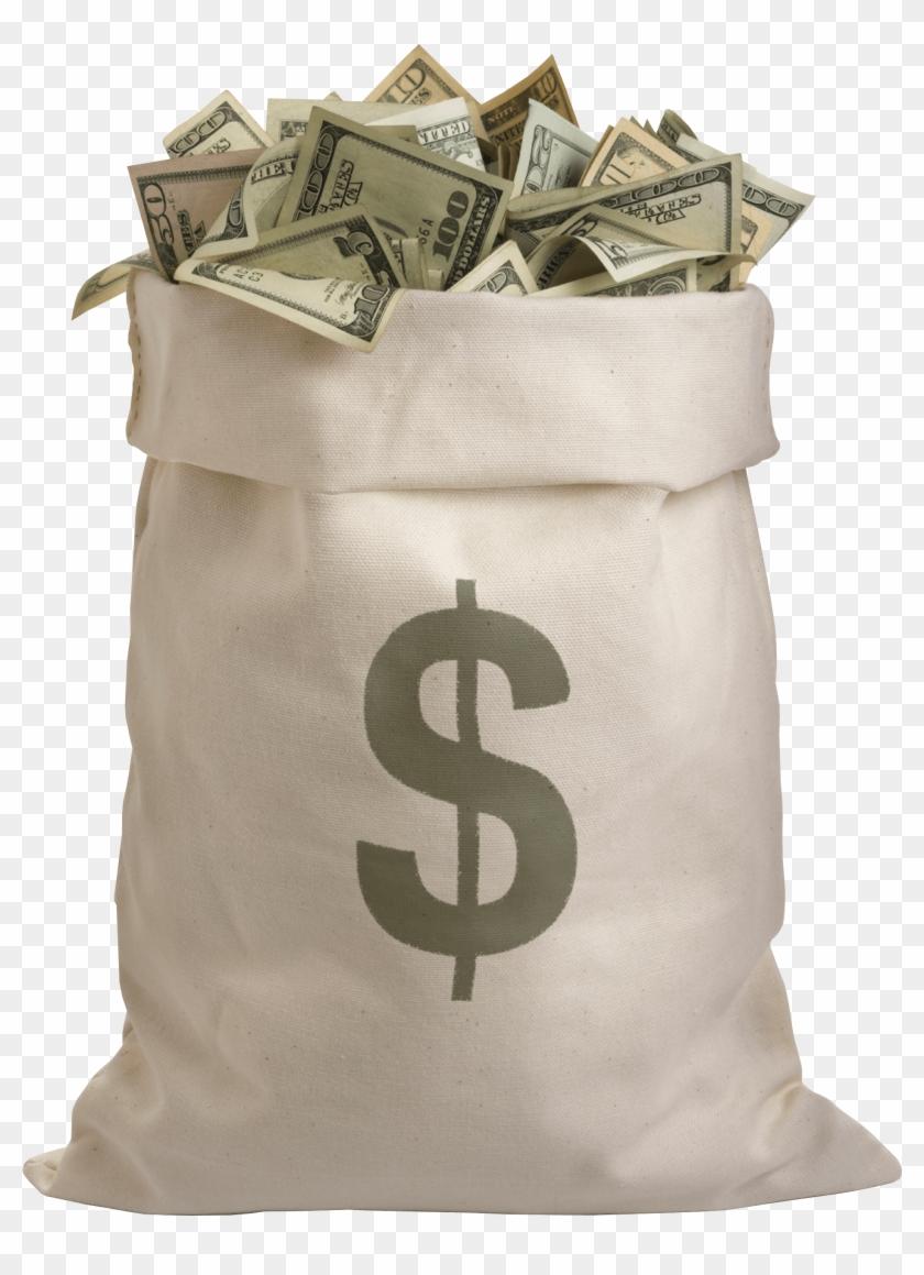 Bag Full Of Dollars Money.