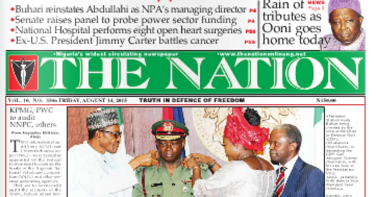 NAIJA NEWSPAPERS: TODAY\'S THE NATION NEWSPAPER HEADLINES [16.
