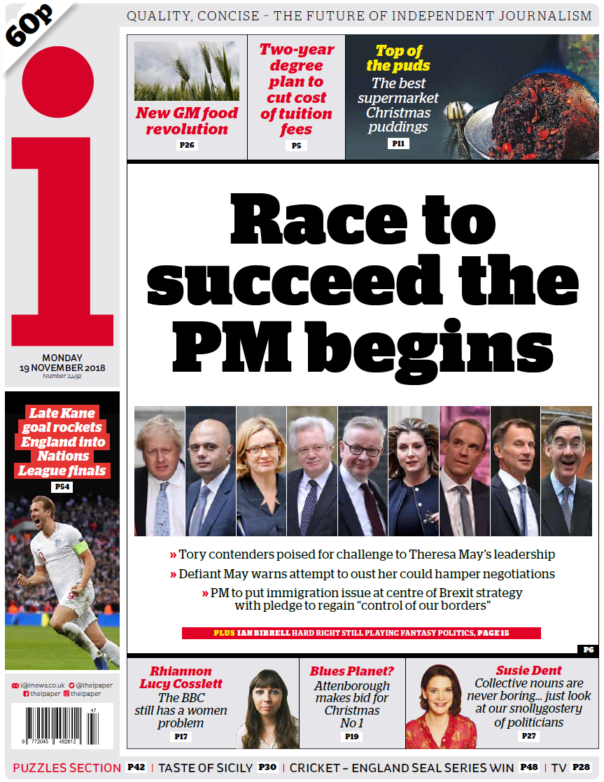 Monday\'s national newspaper front pages.