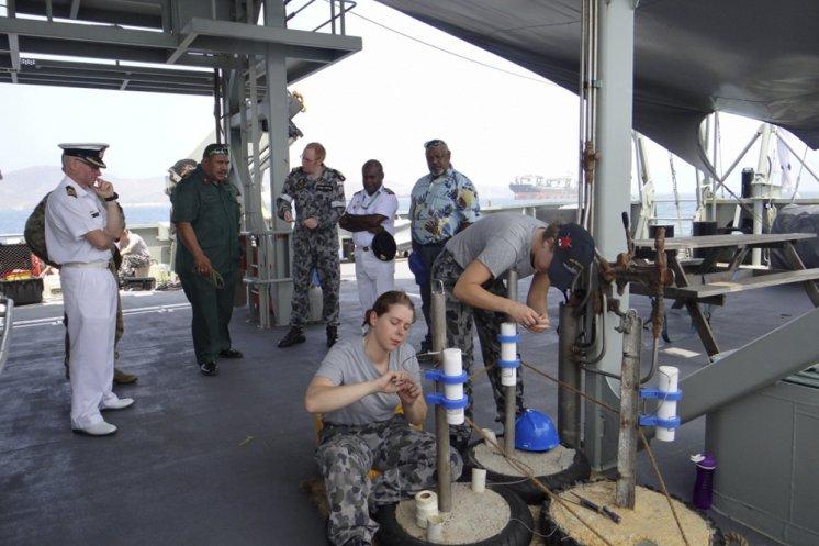 HMAS Leeuwin surveying underway in PNG.