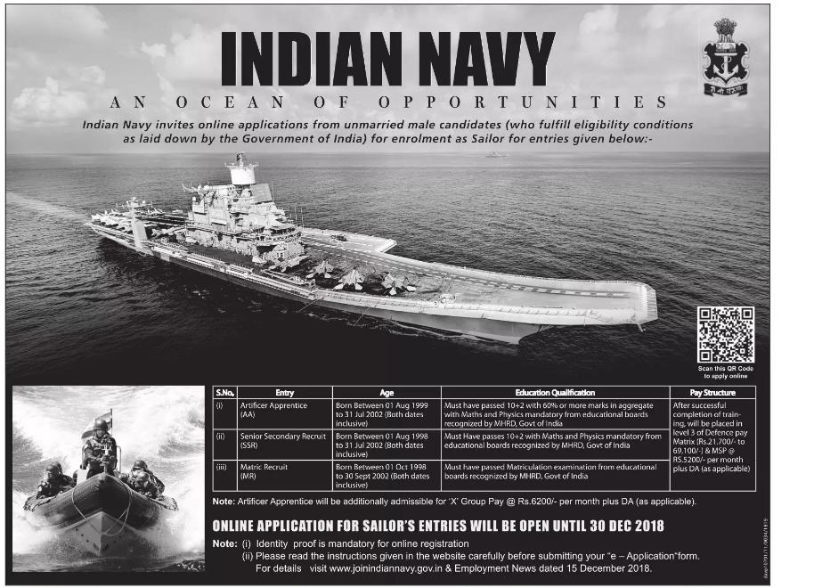 Indian Navy Recruitment 2018.