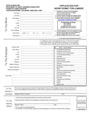 Work Permit Application Form.