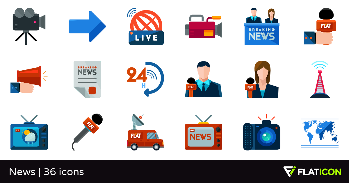 News 36 free icons (SVG, EPS, PSD, PNG files).