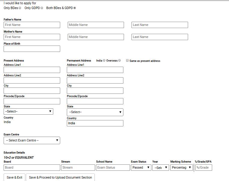 NID Application Form 2018.