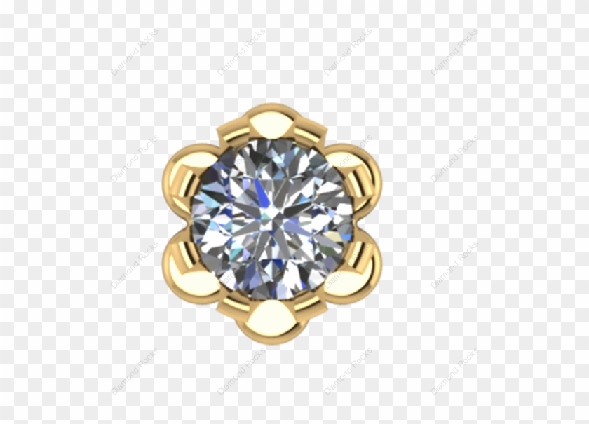 11cts Brilliant Diamond Nose Pin Threaded In 18 K Gold.