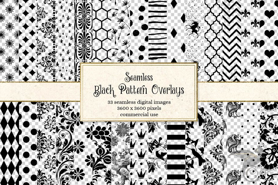 Black Pattern PNG Overlays.