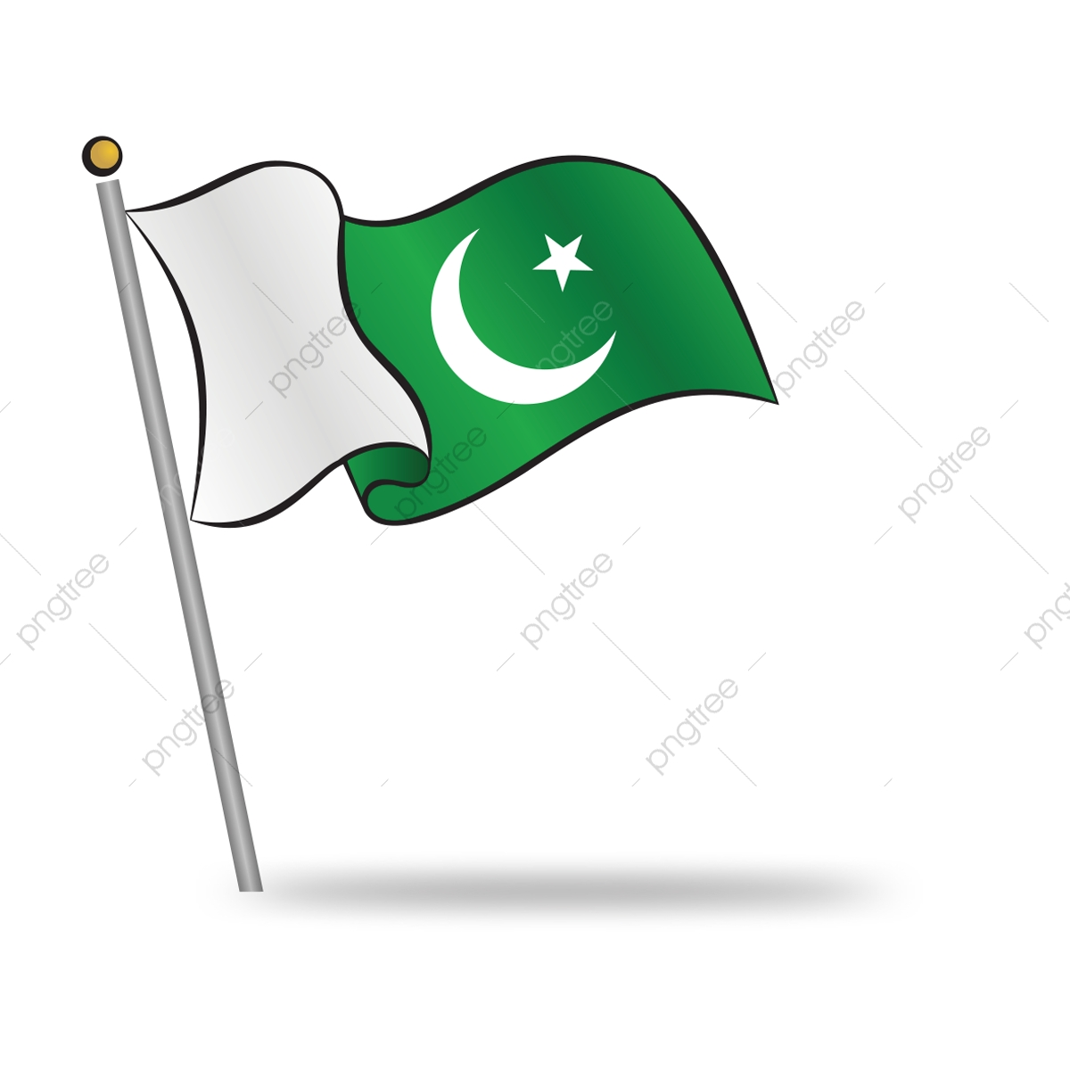 Pakistani Flag Waving On The Wind, Pakistan, 14th, August.