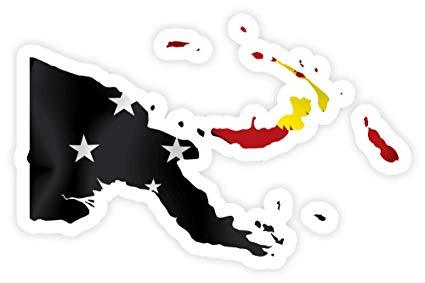 Amazon.com : Papua New Guinea PNG map flag sticker decal 5.