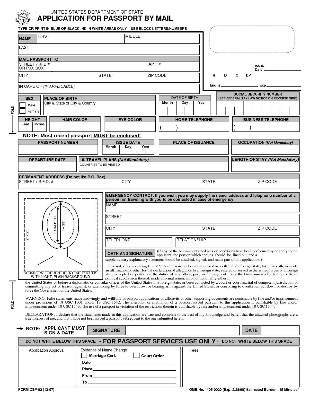 Free Printable Passport Application Form.