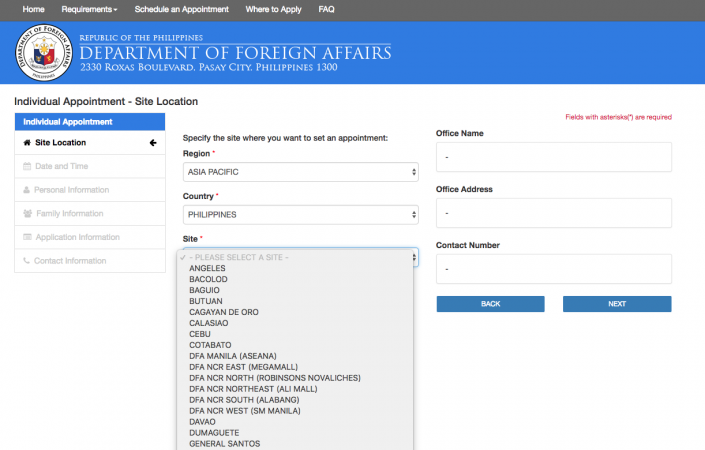 Online passport application for renewal.