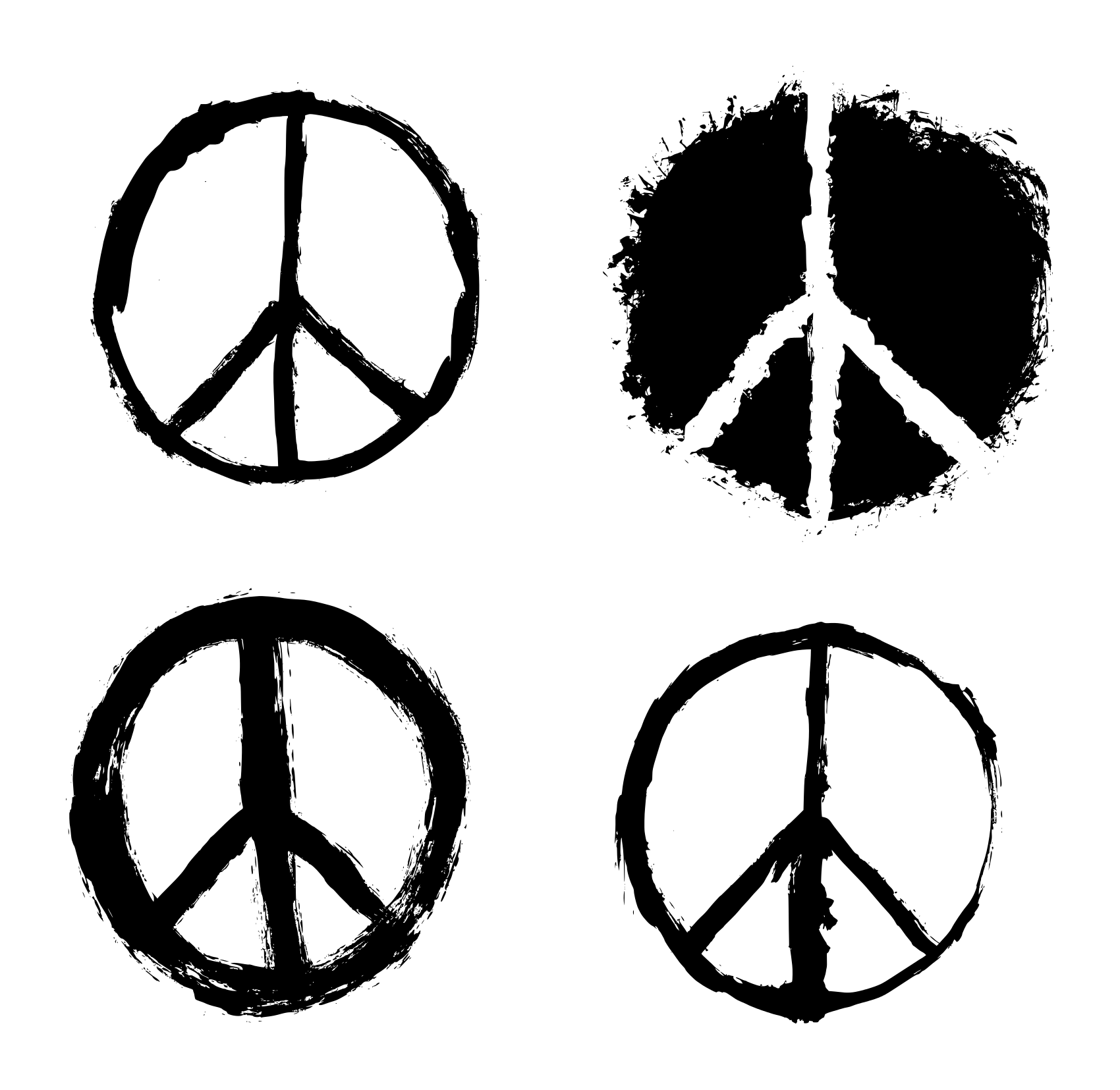 4 Grunge Peace Symbol (PNG Transparent).