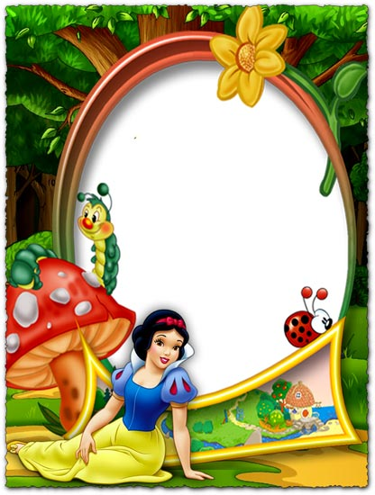Snow White in the forest png photo frame.
