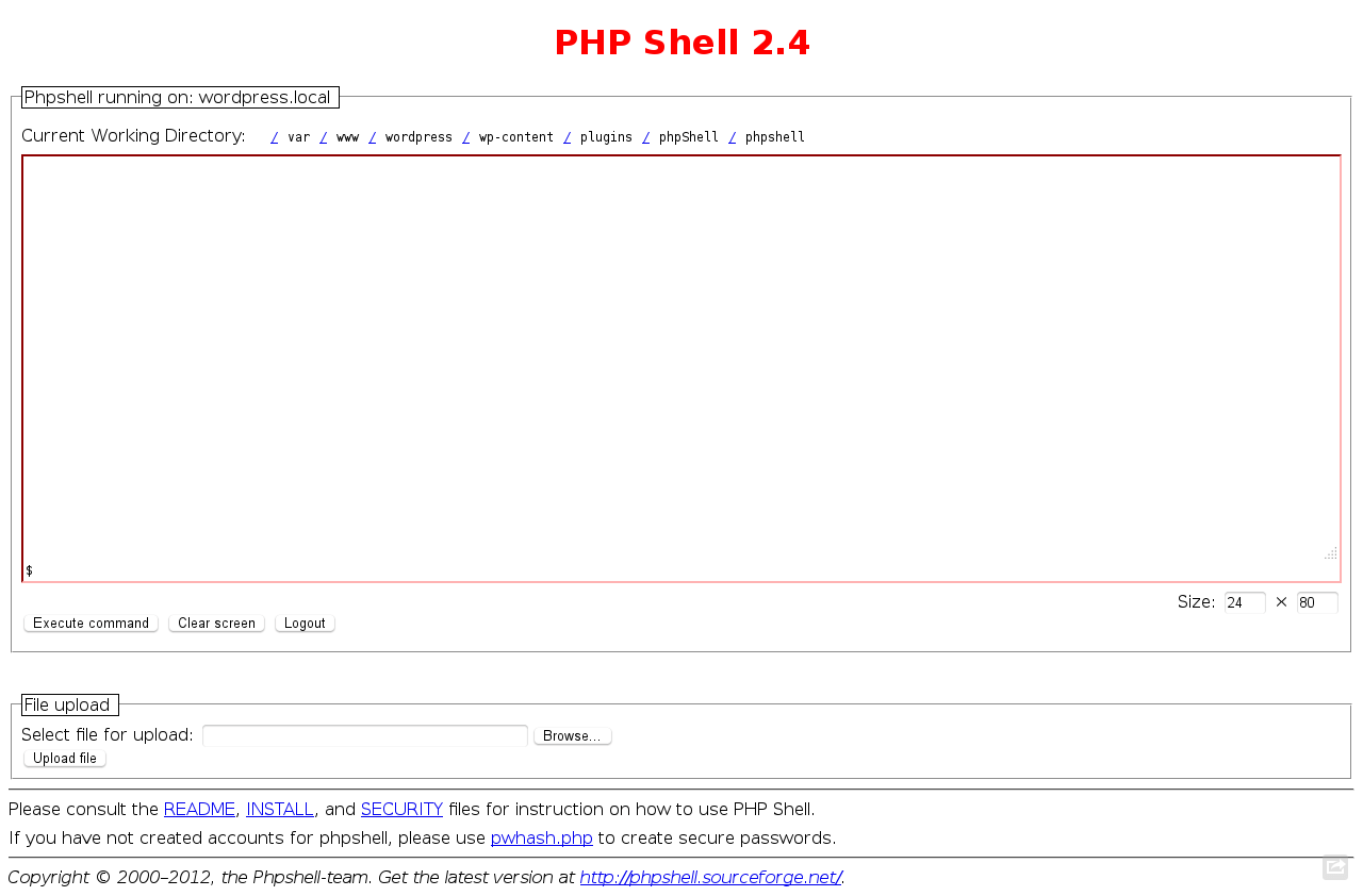 WordPress PHP Shell and File Browser Plugins.