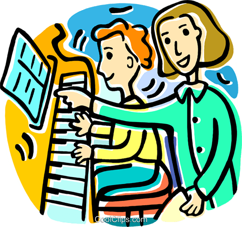 piano lessons Royalty Free Vector Clip Art illustration.