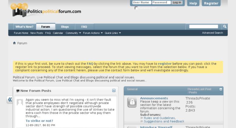Access politicspoliticalforum.com. Political Forum, Live.