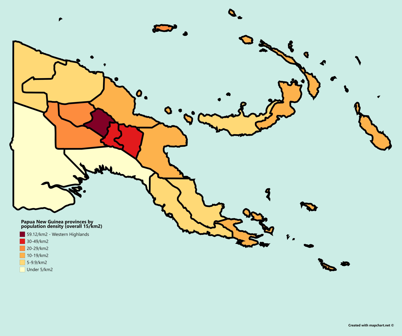 Papua New Guinea provinces by population density (2011.