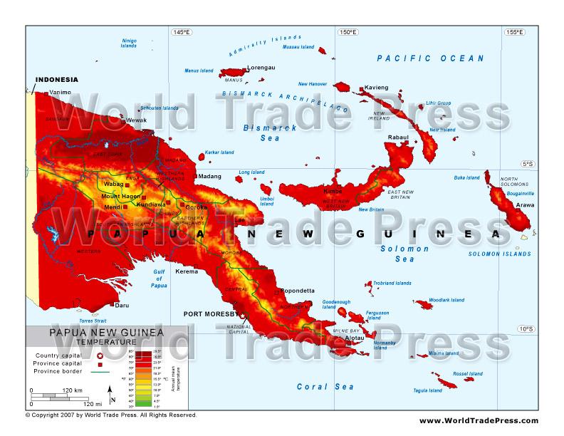 Papua New Guinea Population Density Map.