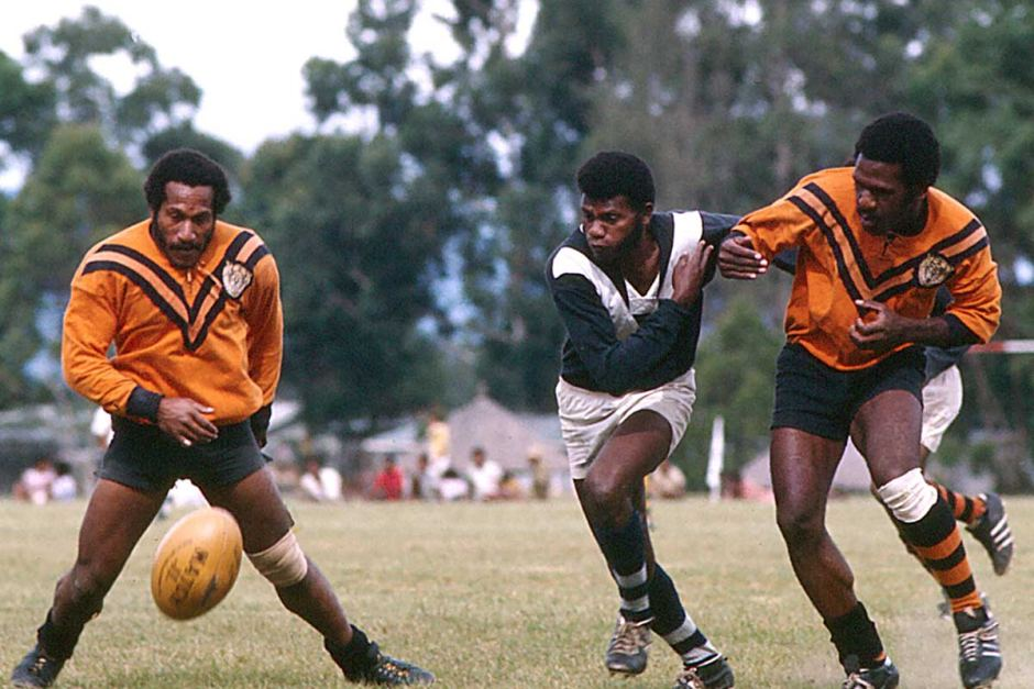 PNG rugby league team in 1977.
