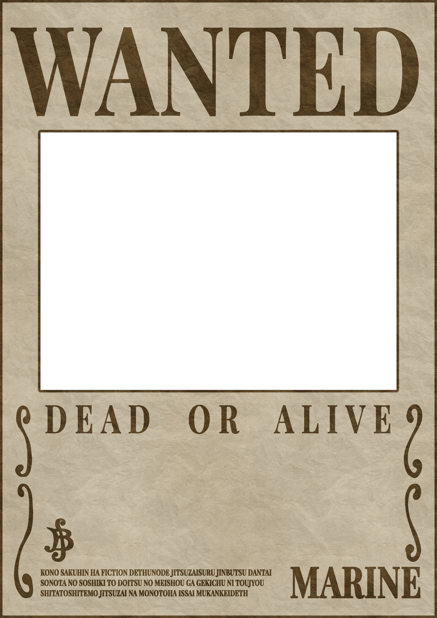 One Piece Wanted Poster Template.