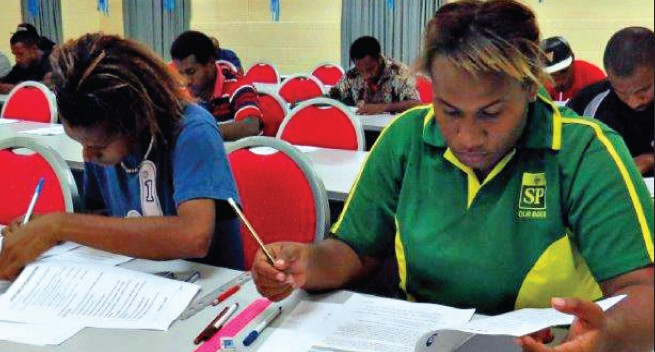 PNG Power Training Center conducts entry test for applicants.