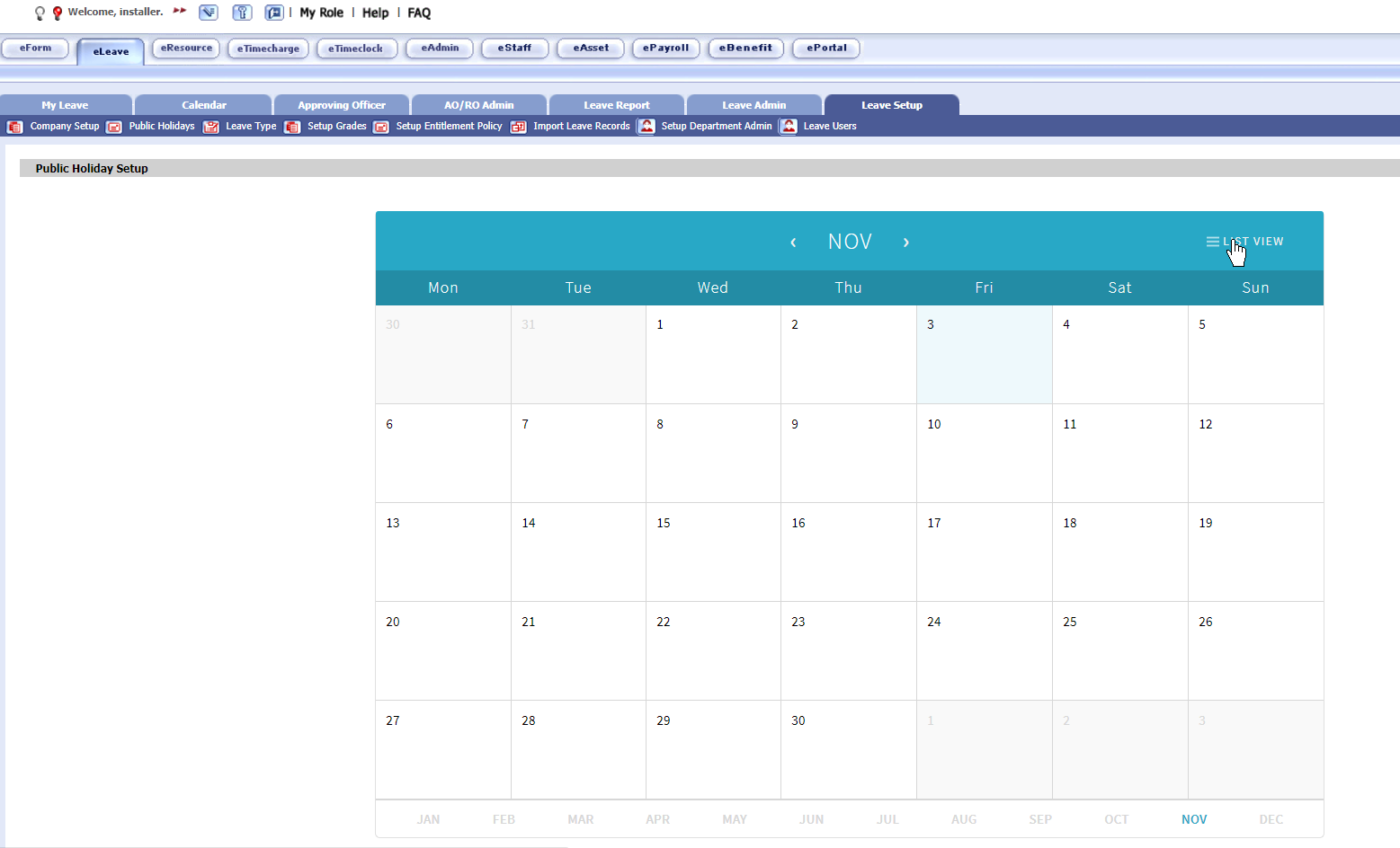 How to enable next year\'s Public Holiday Calendar? [Classic.