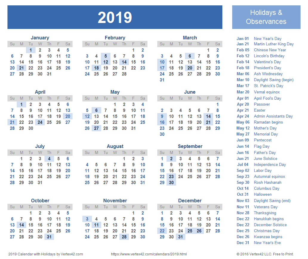 2019 Calendar Templates and Images.