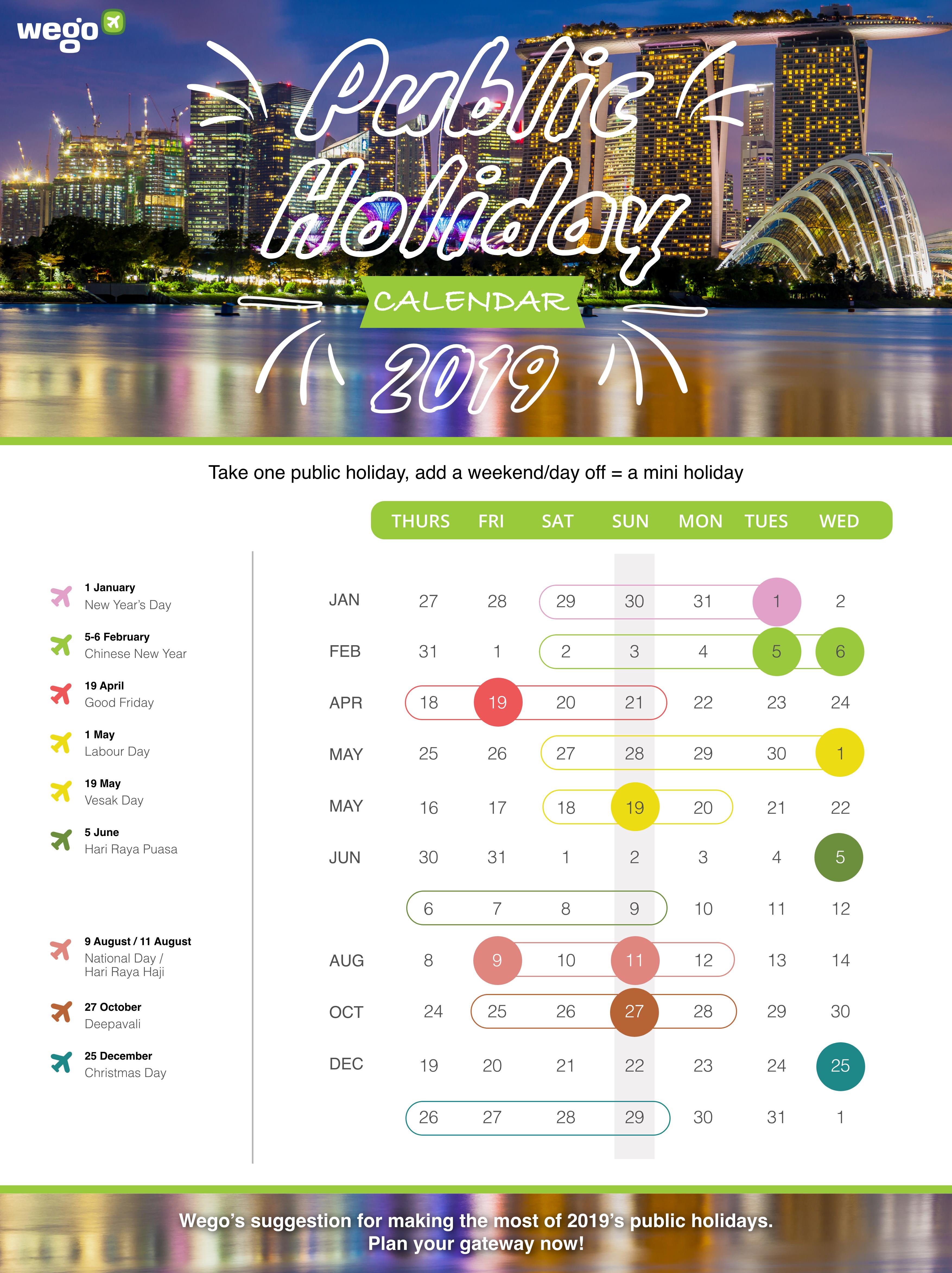 Wego\'s 2019 Calendar for Public Holidays in Singapore.