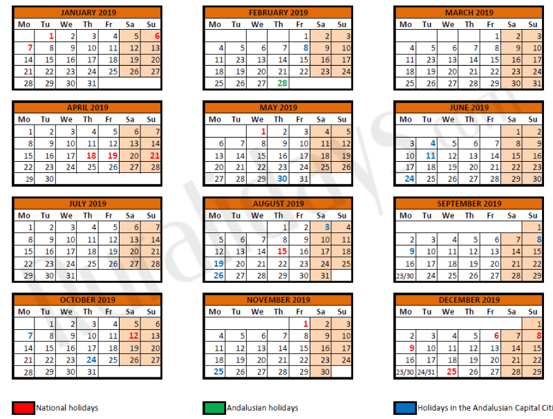 Public Holidays in Spain and Andalucia.