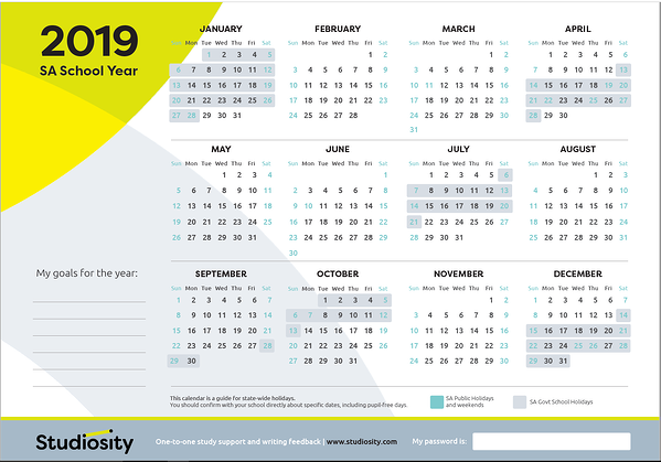 School terms and public holiday dates for SA in 2019.