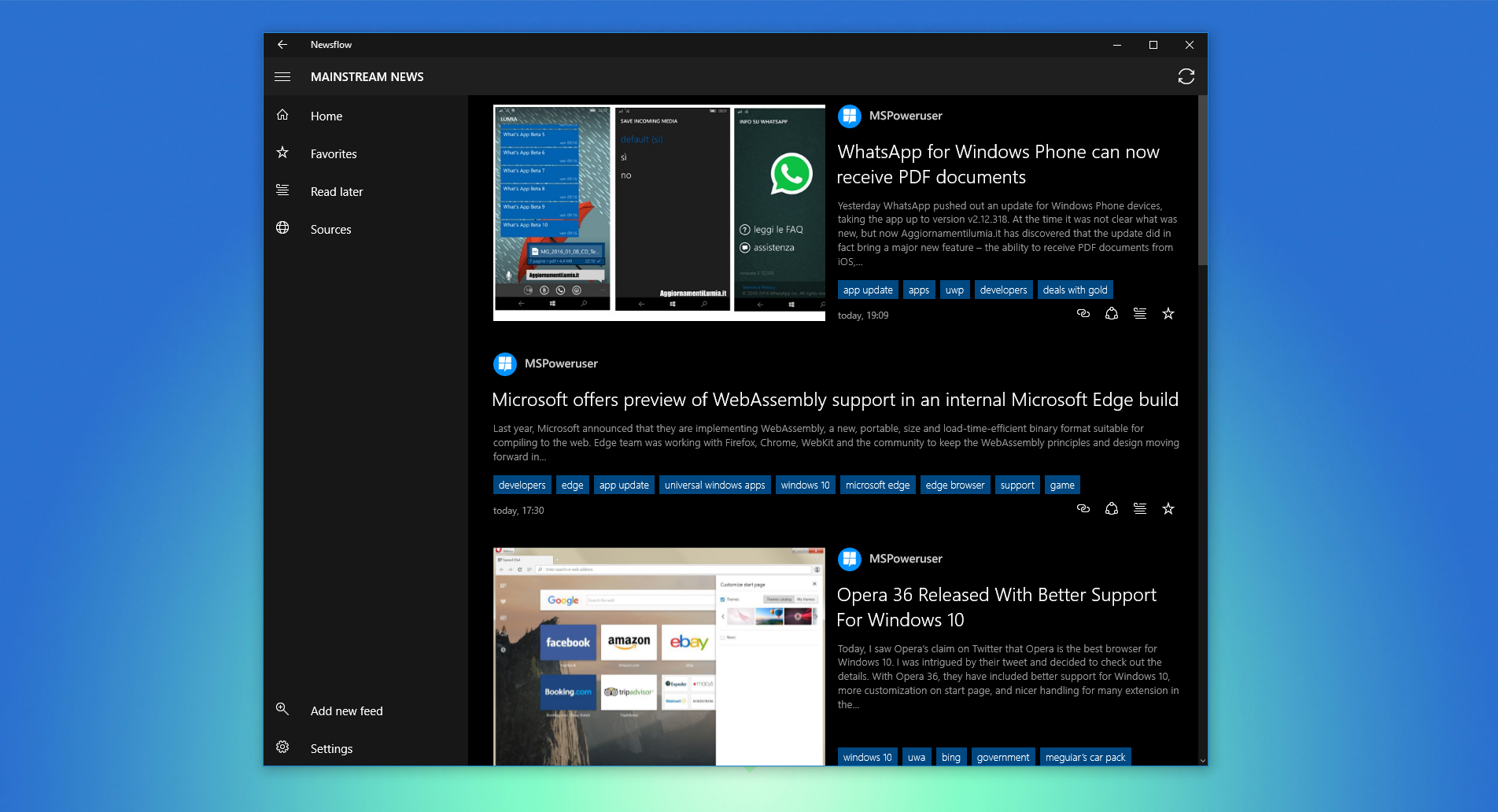 Newsflow is a beautiful RSS reader app for Windows 10.