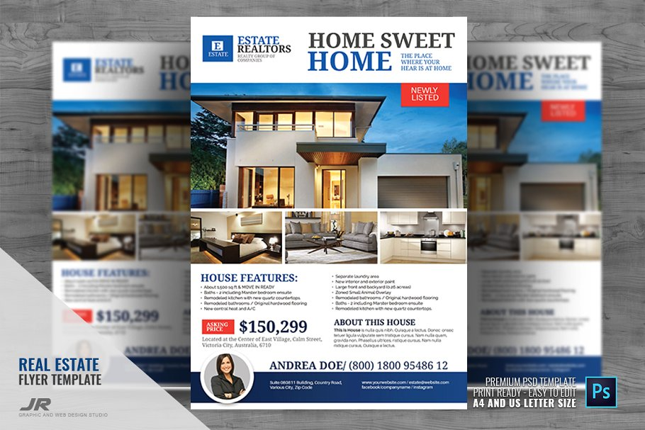 Real Estate Modern House Listing ~ Flyer Templates.