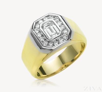 Elegant Emerald Cut Diamond Ring for Men.
