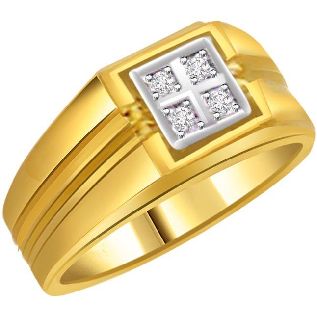 0.20 cts Diamond 18k Gold Men\'s Ring.