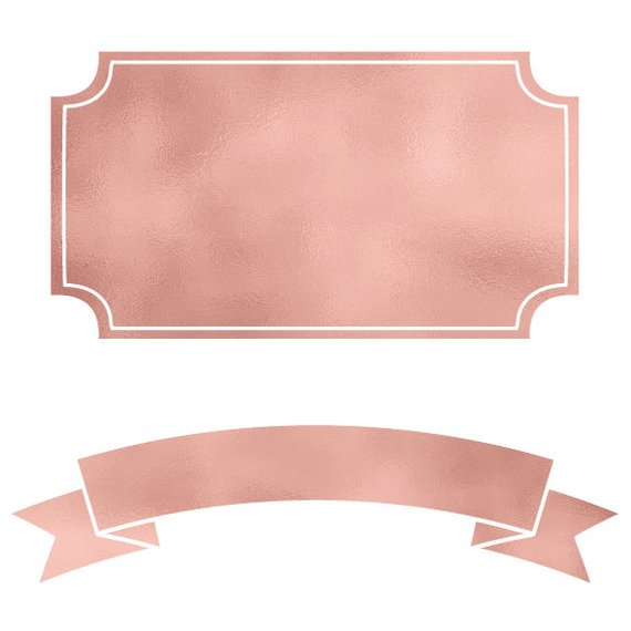 Rose Gold Banners & Frames Digital Labels, PNG, Instant.