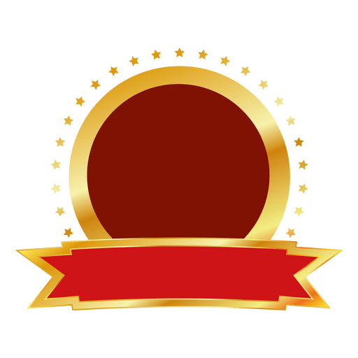 Red gold round badge.