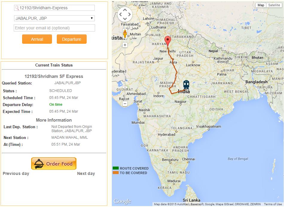 SpotUrTrain Running Status Live on Google Map.
