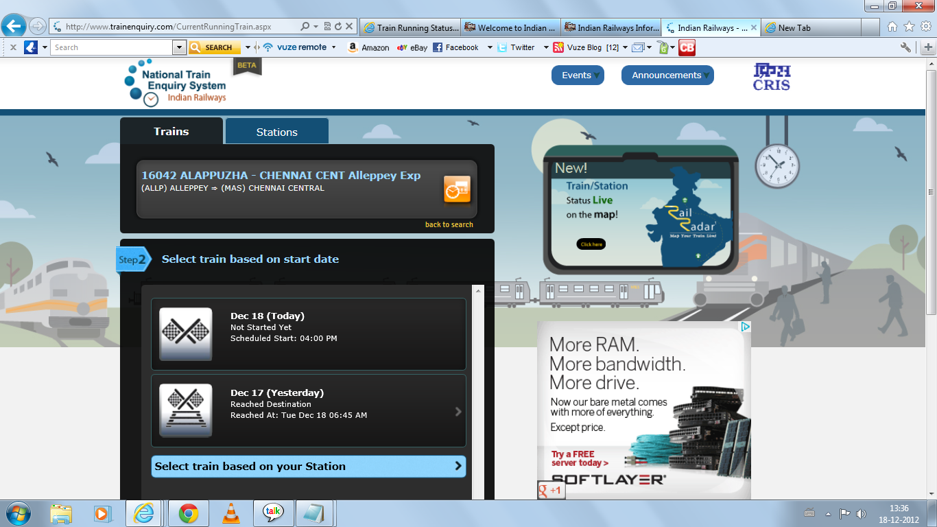 India Railway Trains information: Online Train running Status.