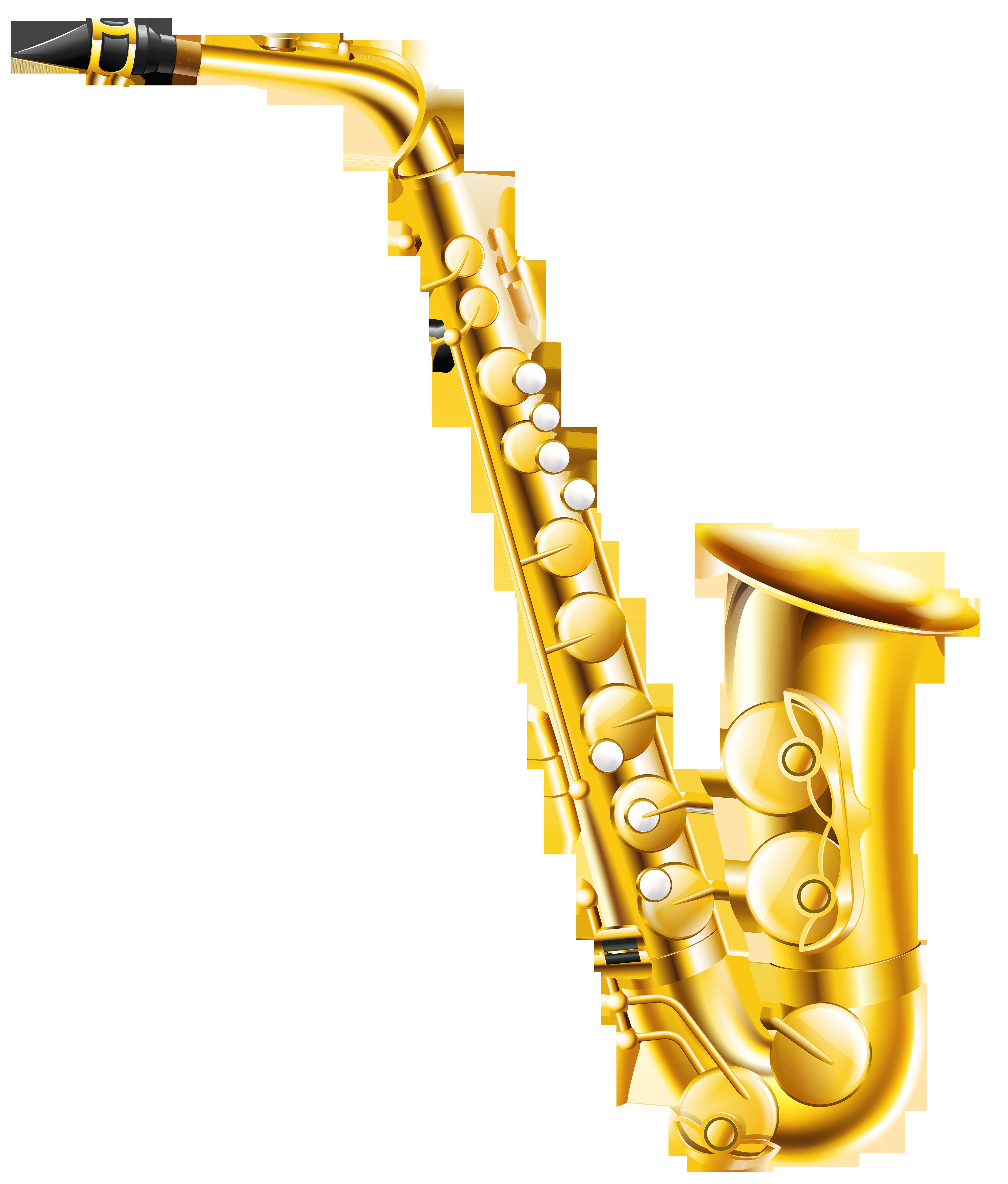 Transparent Saxophone PNG Clipart.