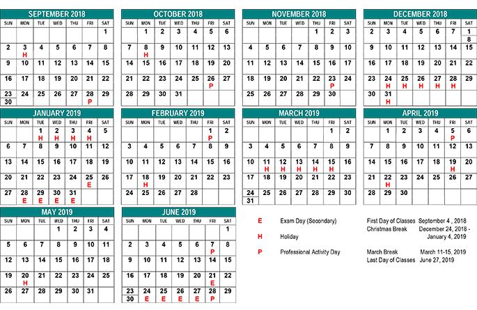 School Year Calendar.