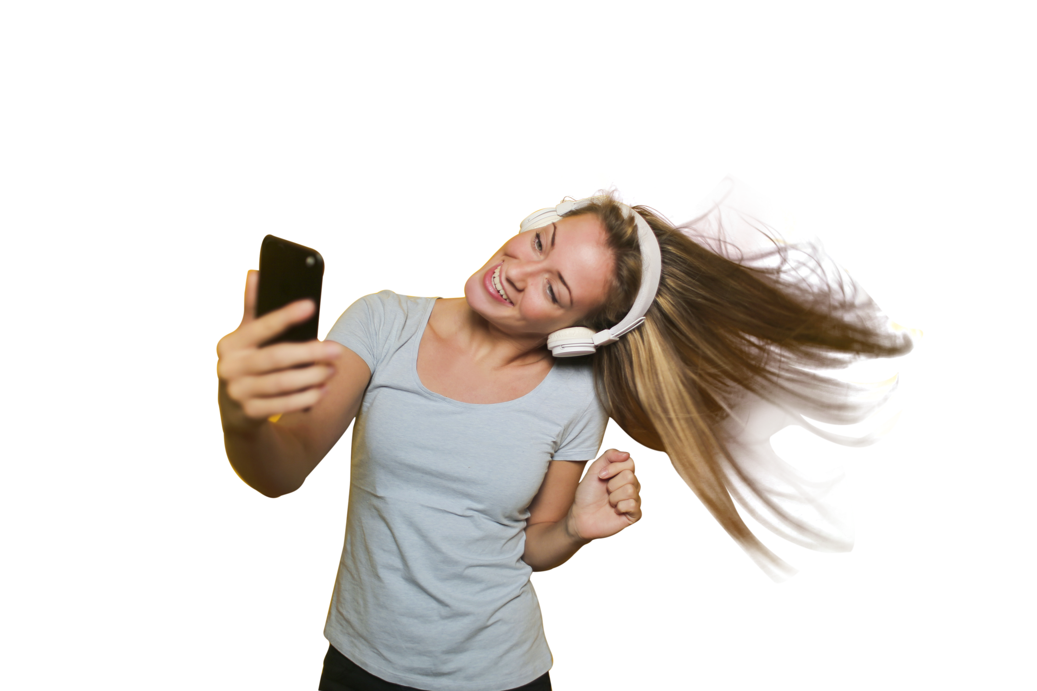 Girl Taking Selfie with listening music PNG Image.