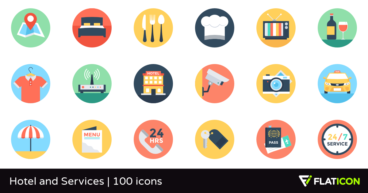 Hotel and Services 100 free icons (SVG, EPS, PSD, PNG files).
