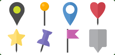 Flat Map Markers Icons Set with Custom Icon Design Service.